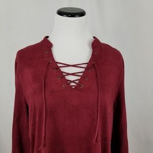 Fever Dresses - NEW Fever Red Lace Up 3/4 Sleeve Suede Shirt Dress